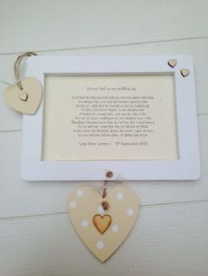 Shabby personalised Gift Chic FatherOf Bride Dad Present Wall Hanging Wedding